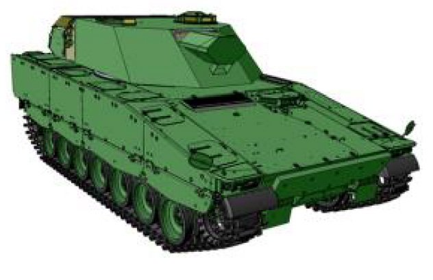 Шведский рендер 120-мм самоходной минометной системы Mjölner (Granatkastarpansarbandvagn 90120) на шасси БМП CV90.