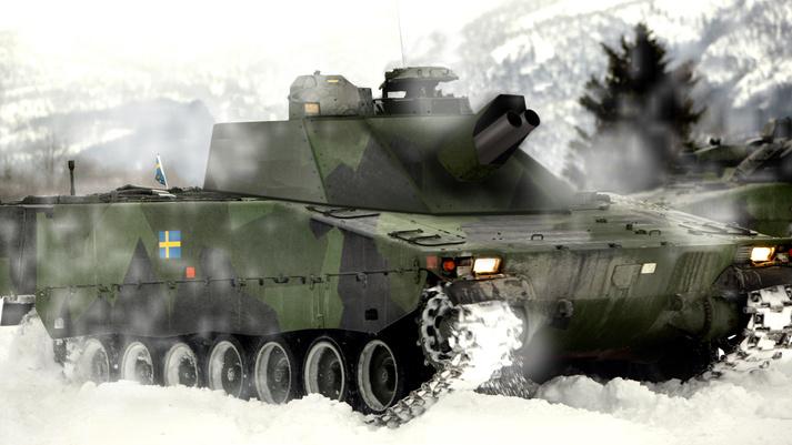 Шведская 120-мм самоходная минометная система Mjölner (Granatkastarpansarbandvagn 90120) на шасси БМП CV90.
