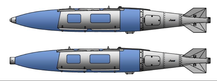 Новые американские авиационные морские донные неконтактные мины высокоточной постановки Mk 64 Quickstrike-J на основе 2000-фунтовой авиационной бомбы Mk 84 - вверху Mk 64-J Mod 0, использующая стандартный блок неконтактных взрывателей Mk 57 TTD, внизу Mk 64-J Mod 3 с новым блоком неконтактных взрывателей Mk 71 TTD.