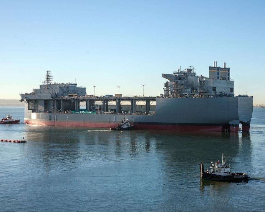 Корабль класса MLP (Mobile Landing Platform) – будущий USNS Lewis B. Puller.