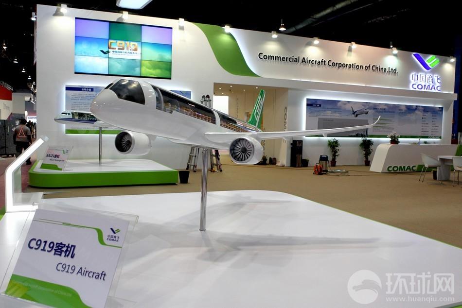 Модель серийного пассажирского авиалайнера C919.