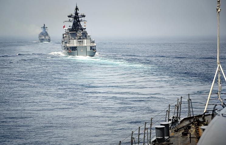 """Российско-китайские военно-морские учения """"Морское взаимодействие""""."""