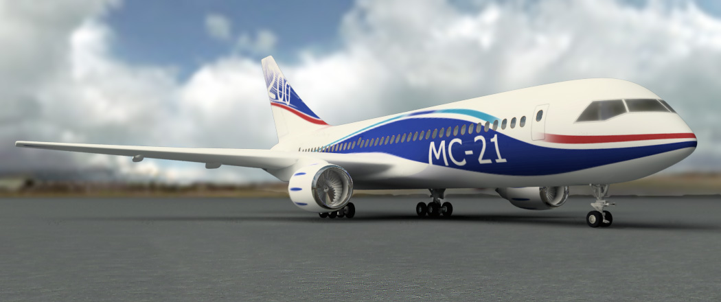 Рисунок пассажирского самолета МС-21