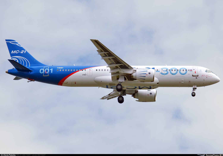 Первый летный опытный образец самолета МС-21-300-0001 (регистрационный номер 73051, серийный номер 21001) в первом полете. Иркутск, 28.05.2017.