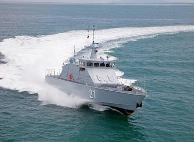 Cкоростной сторожевой катер Mustaed построенный в 2011 году в Сингапуре для ВМС Брунея по проекту FIB25-012 германской компании Fr. Lürssen Werft.