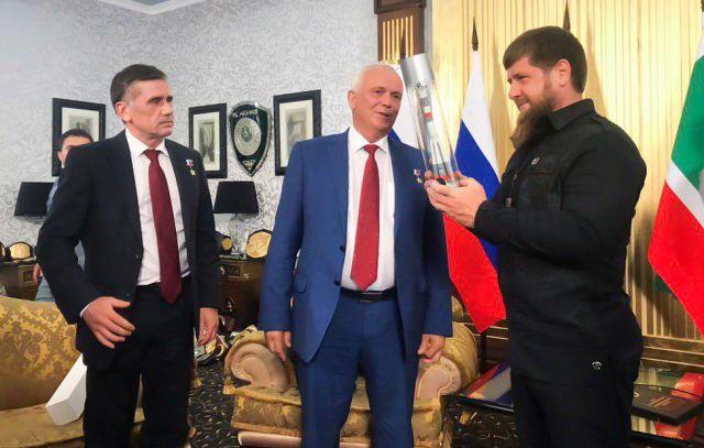 Начальник Центра подготовки космонавтов Павел Власов и глава Чеченской Республики Рамзан Кадыров