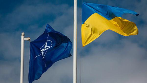 Национальный флаг Украины и флаг Организации Североатлантического договора (НАТО). Архивное фото