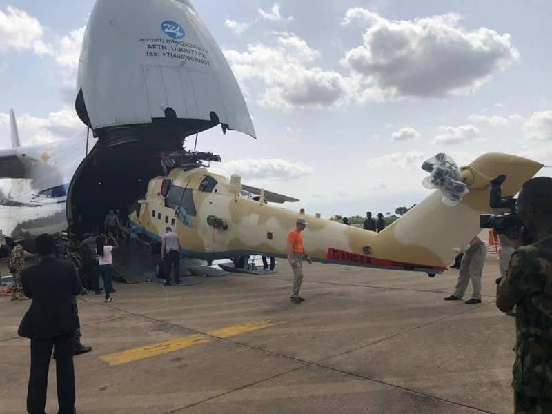 Доставка рейсом транспортного самолета Ан-124-100 вертолетов Ми-35М на нигерийскую авиабазу Макурди.