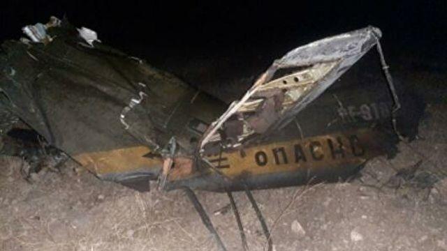 Обломки российского вертолета Ми-24, сбитого в воздушном пространстве над территорией Армении вне зоны боевых действий