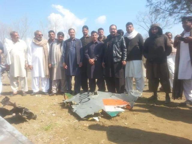 Обломки истребителя МиГ-21бис UPG (Bison) (индийский военный номер CU2328) ВВС Индии, сбитого ВВС Пакистана над Линией контроля между индийской и пакистанской частями Кашмира, 27.02.2019