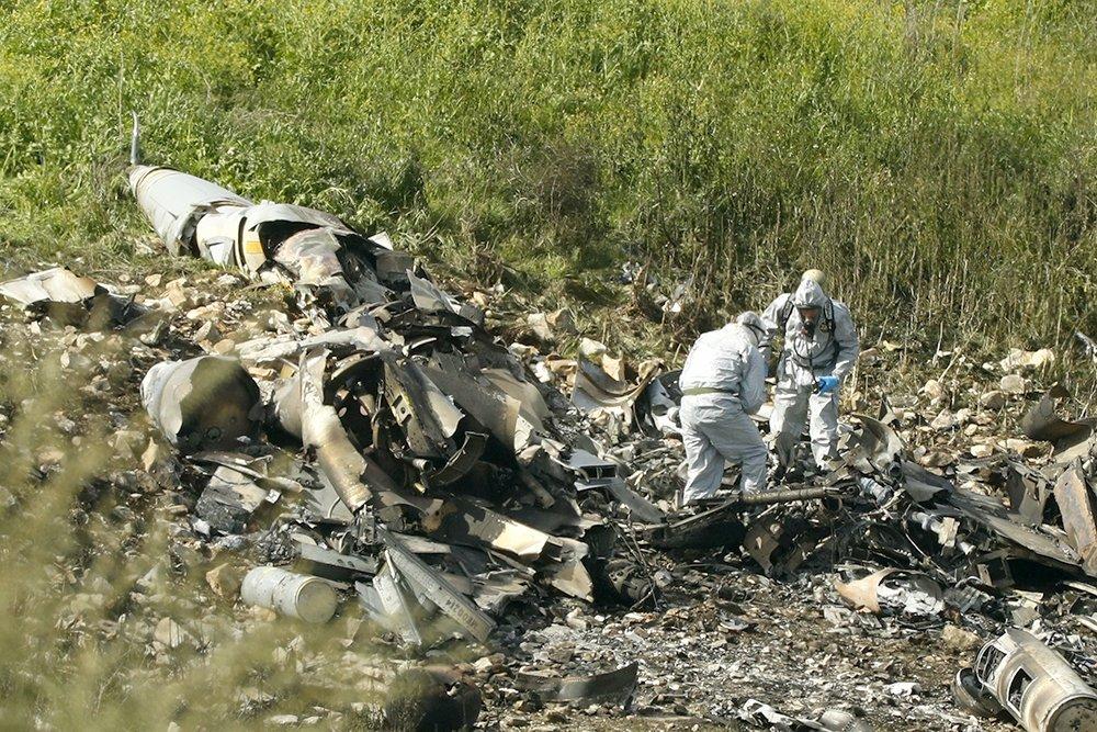 Обломки сбитого сирийской ПВО истребителя Lockheed Martin F-16I (Sufa) ВВС Израиля, 10.02.2018.