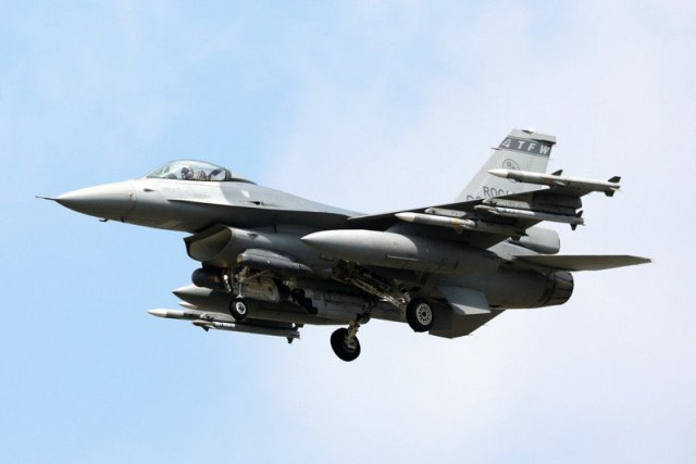 Один из модернизированных до уровня F-16V Block 70 истребителей из состава 4-го тактического истребительного крыла ВВС Китайской Республики. Цзяи (Тайвань), 12.08.2020