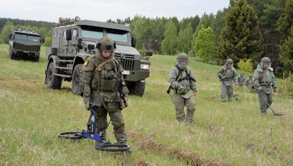 Военнослужащие на учебных занятиях саперов. Архивное фото