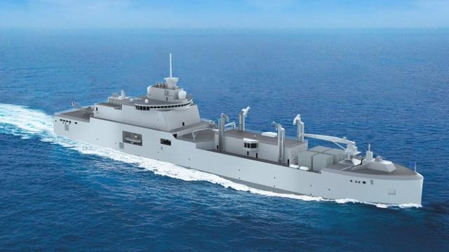Официальное проектное изображение корабля комплексного снабжения нового поколения типа BRF (Bâtiments Ravitailleurs de Force) для ВМС Франции