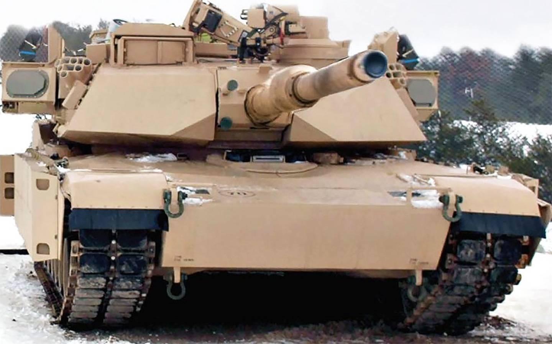 Опытный образец оснащенного израильским комплексом активной защиты Rafael Trophy американского танка M1A2 SEPv2 Abrams.