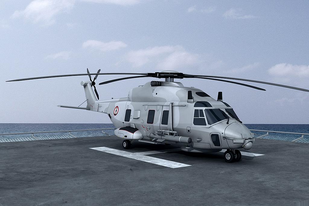 Рисунок вертолета NH90 с перспективной ракетой ANL (Anti-Navire Leger).
