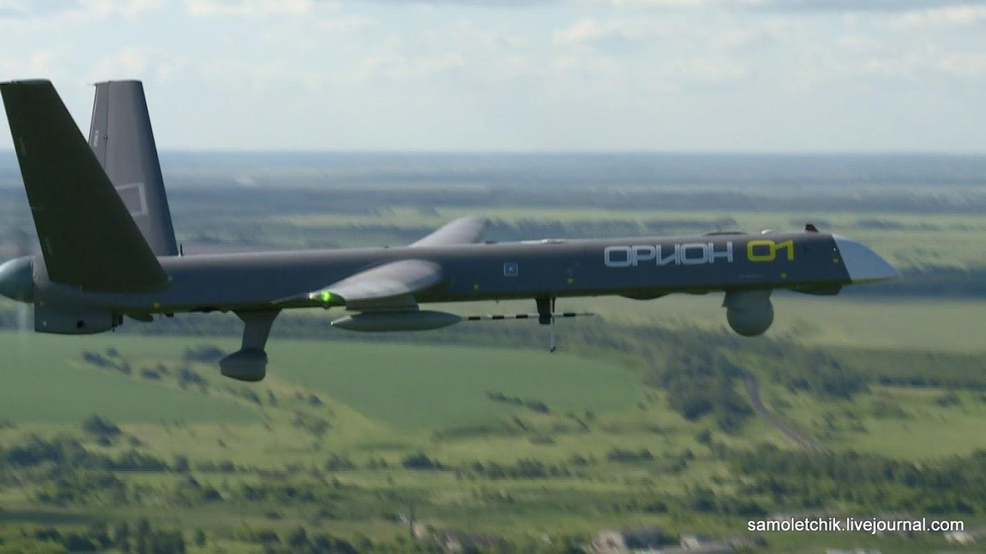 """Кадр из презентации БЛА """"Орион-Э"""" компании «Кронштадт» на авиасалоне МАКС-2017, август 2017 года."""