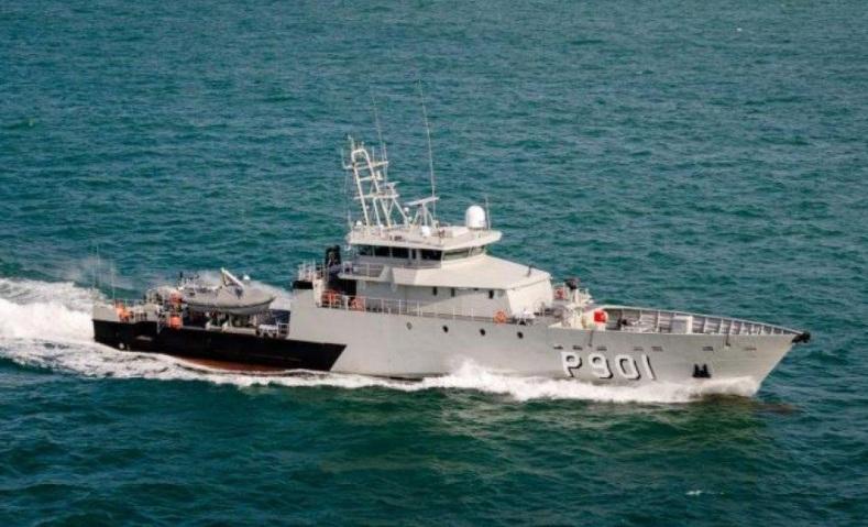Новый бельгийский патрульный корабль Р 901 Castor во время испытаний.