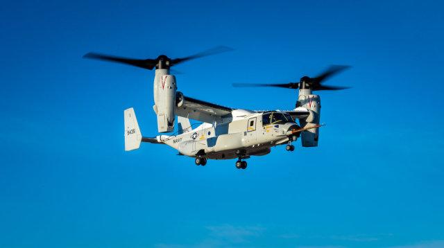 """Первый образец корабельного транспортного конвертоплана Bell Boeing CMV-22B Osprey (бортовой номер """"9435"""") для ВМС США в первом полете, 21.01.2020 (c) Bell Textron"""