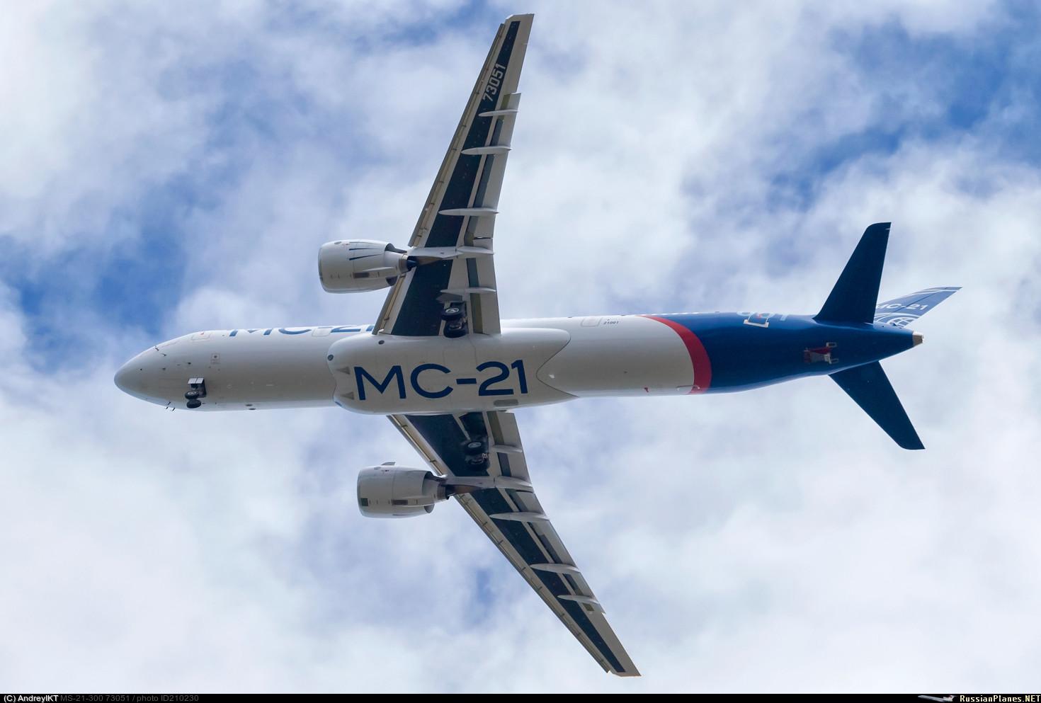 Первый летный опытный образец самолета МС-21-300-0001 (регистрационный номер 73051, серийный номер 21001) в первом полете. Иркутск, 28.05.2017