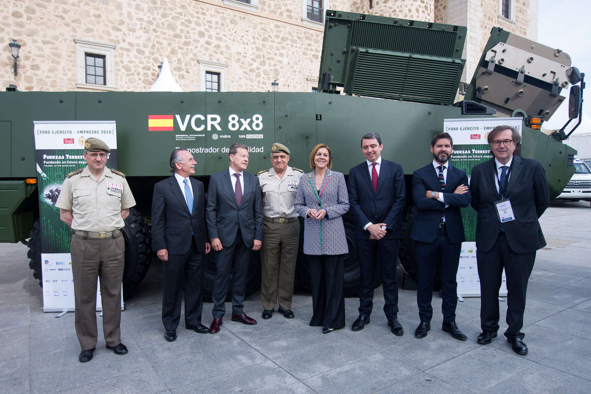Презентация первого опытного образца-демонстратора перспективного испанского бронетранспортера VCR 8х8 (на основе Piranha V) руководству министерства обороны и вооруженных сил Испании. Толедо, 23.05.2018.