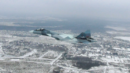 Полет Су-57 с двигателем второго этапа