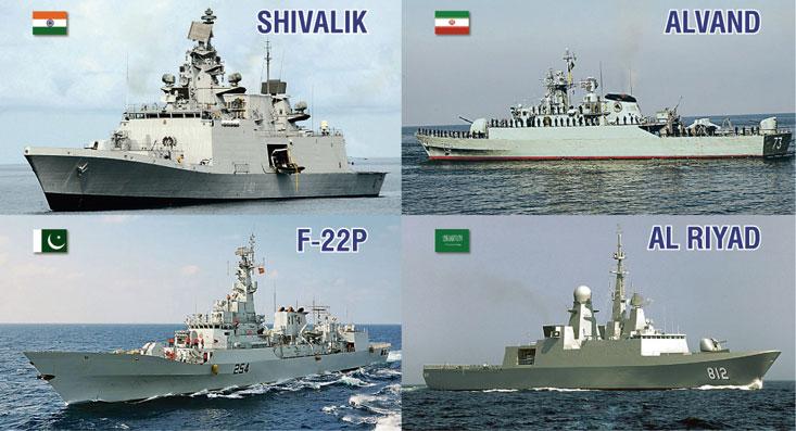 Фрегаты «Шивалик, F-22P, «Алванд», «Эр-Рияд».