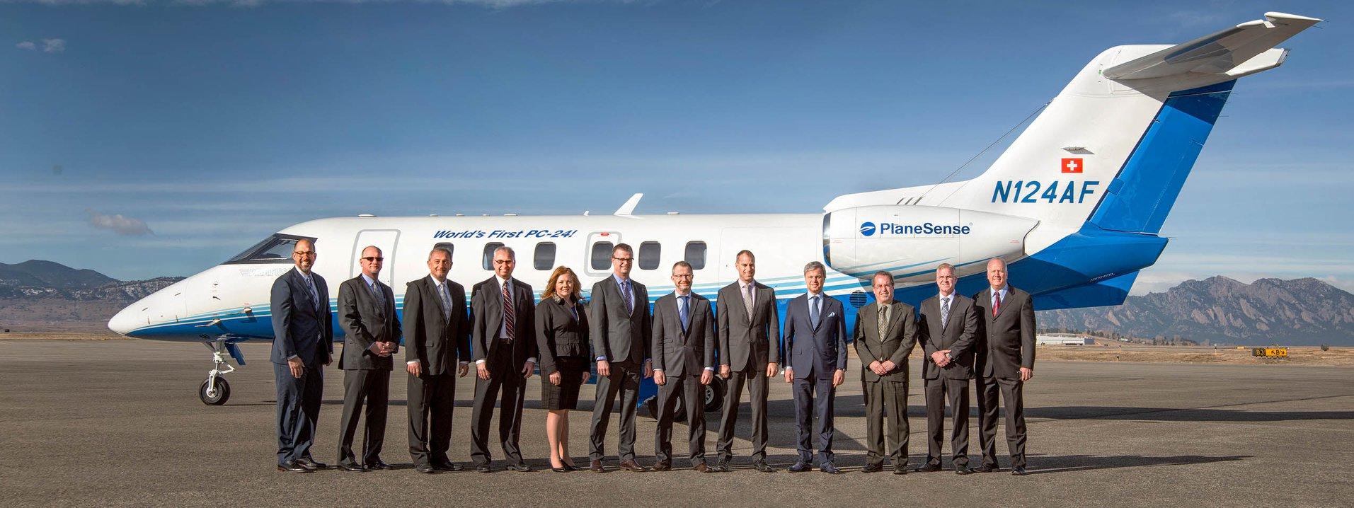 Первый серийный реактивный административный самолет Pilatus PC-24 (серийный номер 101, американская регистрация N124AF, бывшая швейцарская регистрация HB-VSB), переданный заказчику - американской компании PlaneSense. Брумфилд (США), 07.02.2018.
