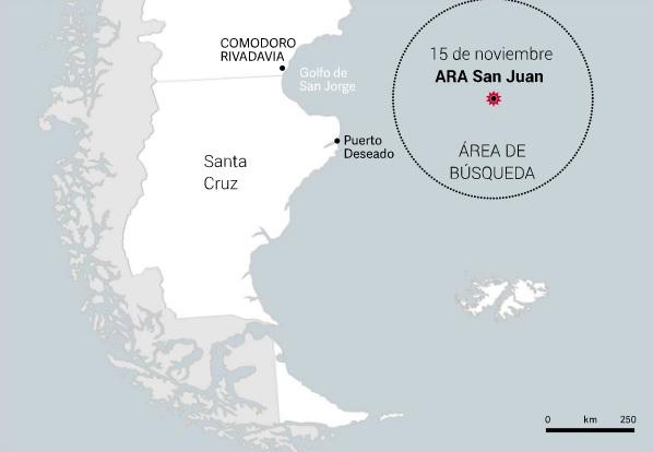 Последняя известная позиция на утро 15.11.2017 пропавшей без вести аргентинской большой дизель-электрической подводной лодкой S 42 San Juan.