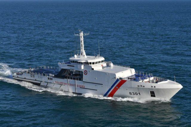 Построенный французской судостроительной компанией ОСЕА по проекту OPV 270 Mk II для береговой охраны Филиппин патрульный корабль OPV 8301 Gabriela Silang на испытаниях, 2019 год