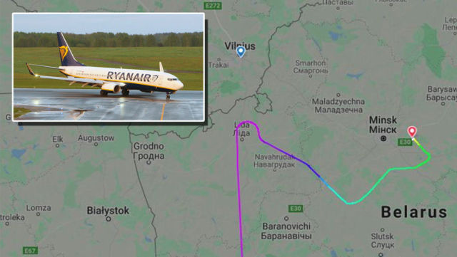 Маршрут самолета авиакомпании Ryanair над Белоруссией (коллаж)