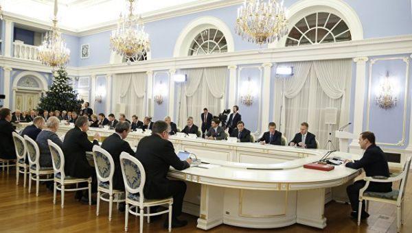 Председатель правительства РФ Дмитрий Медведев проводит заседание правительства РФ. 21 декабря 2017