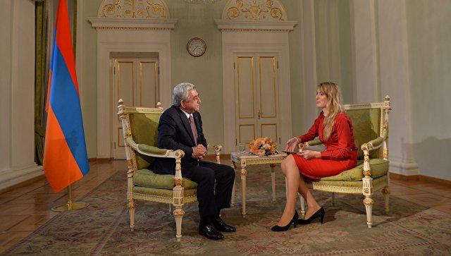 Президент Армении Серж Саргсян во время интервью РИА Новости.