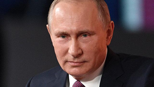 Президент РФ Владимир Путин на ежегодной большой пресс-конференции.