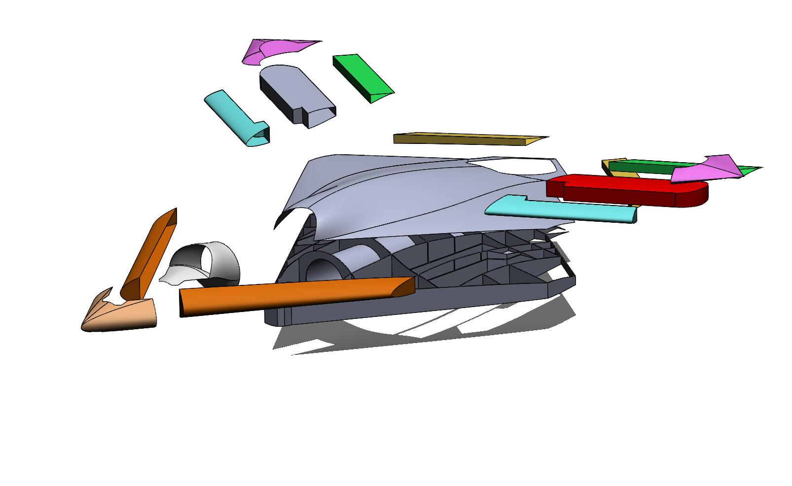 Примерное конструктивное членение БПЛА типа X-47B. На основе анализа фото из интернета.