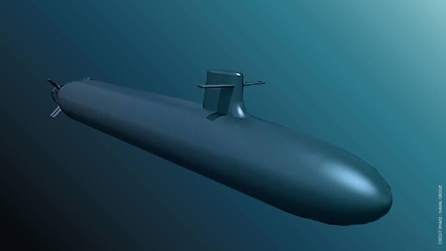 Проектное изображение перспективной французской атомной ракетной подводной лодки третьего поколения по программе SNLE 3G (Sous-marins nucléaires lanceurs d'engins de troisième génération)