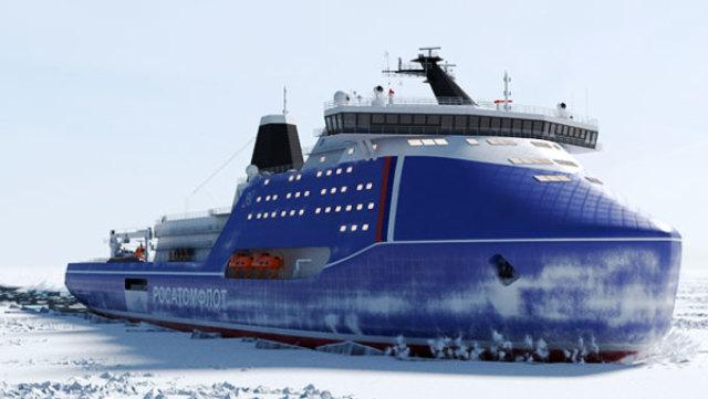 Проектное изображение ледокола проекта ЛК-120Я «Лидер»