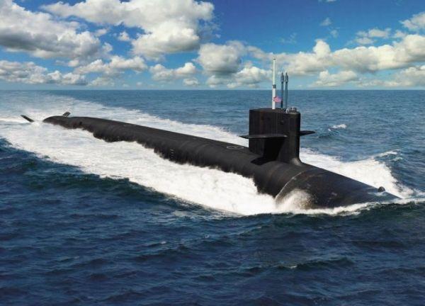 Проектное изображение перспективной американской атомной подводной ракетной лодки типа Columbia