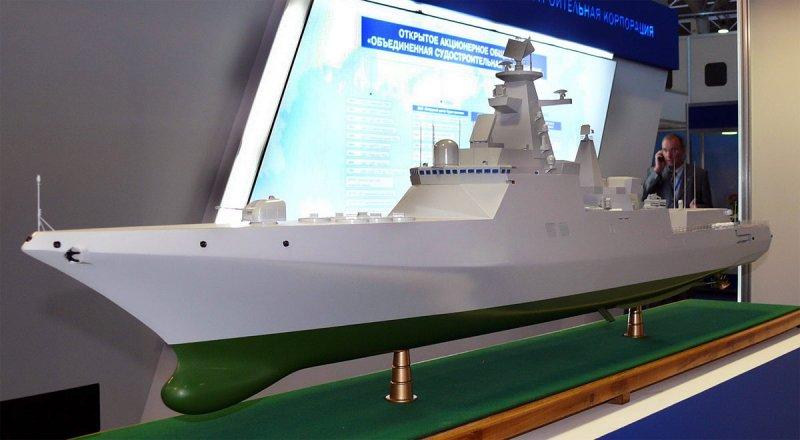 Модель одного из вариантов проекта эсминца пр.21956 Северного ПКБ разработки 2008 г. МВМС-2009, г.Санкт-Петербург, июль 2009 г.