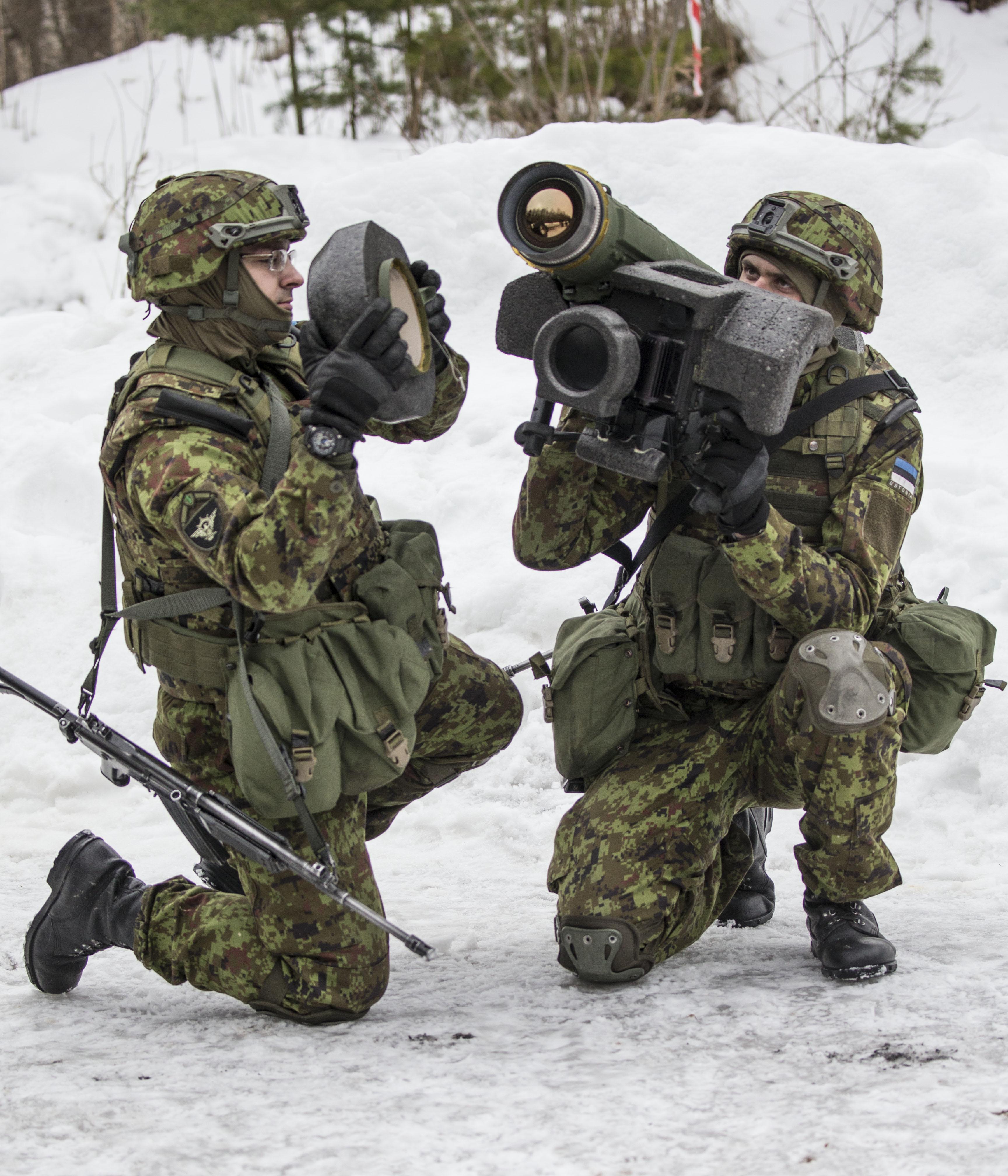 Американский противотанковый ракетный комплекс Javelin в Вируском пехотном батальоне 1-й пехотной бригады сухопутных войск Эстонии, март 2016 года.