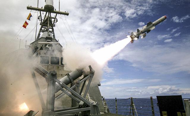 """Пуск противокорабельной ракеты US-AGM-84 Harpoon Block II (""""Гарпун"""")"""