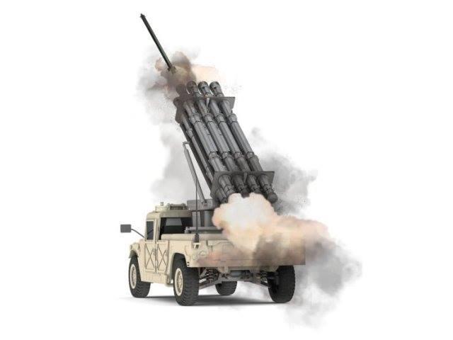 Пуск ракеты из РСЗО IMI C-Lynx на платформе Humvee.