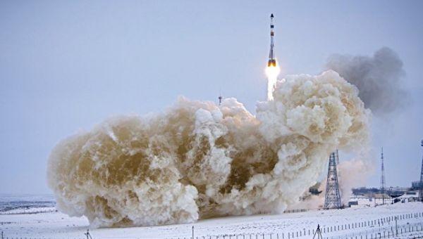 Пуск ракеты-носителя Союз-2.1а с грузовым кораблем Прогресс МС-08. 13 февраля 2018