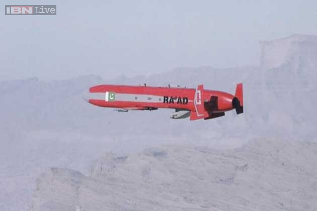 Пакистанская крылатая ракета воздушного базирования Ra'ad с дальностью полета 350 км.