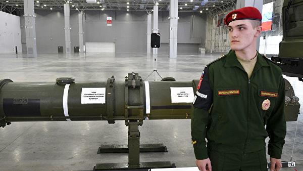 """Ракета 9М729 в выставочном павильоне КВЦ """"Патриот"""" в Московской области"""