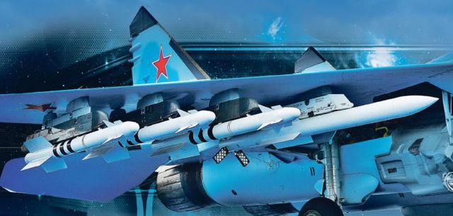 """Ракеты класса """"воздух-воздух"""" на внешней подвеске боевого самолета"""