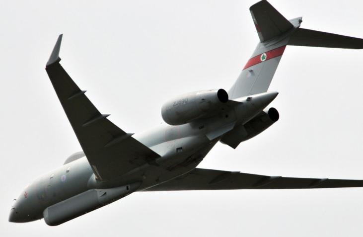 """Разведывательный самолет Sentinel R.1 ВВС Великобритании в ходе разведывательного полета по слежению за российско-белорусскими военными учениями """"Запад-2017"""", сентябрь 2017 года."""