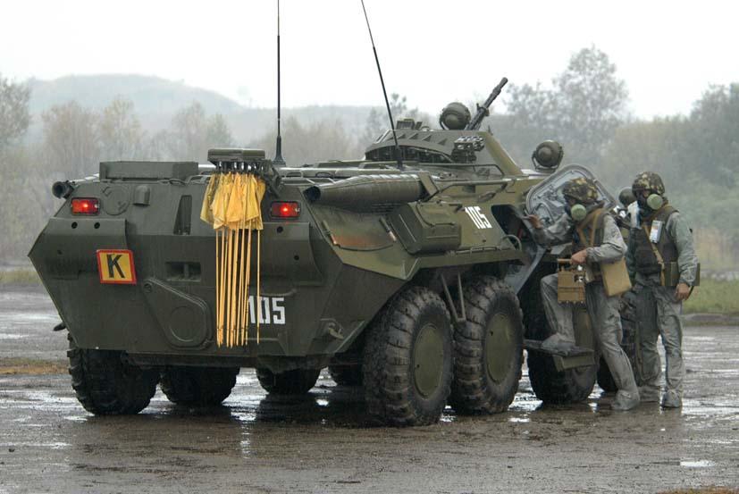 Рразведывательная химическая машина РХМ-4 . Создана на базе бронетранспортёра БТР-80.