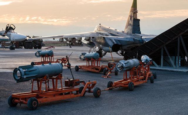 Российские штурмовики Су-25 на авиабазе «Хмеймим», Сирия