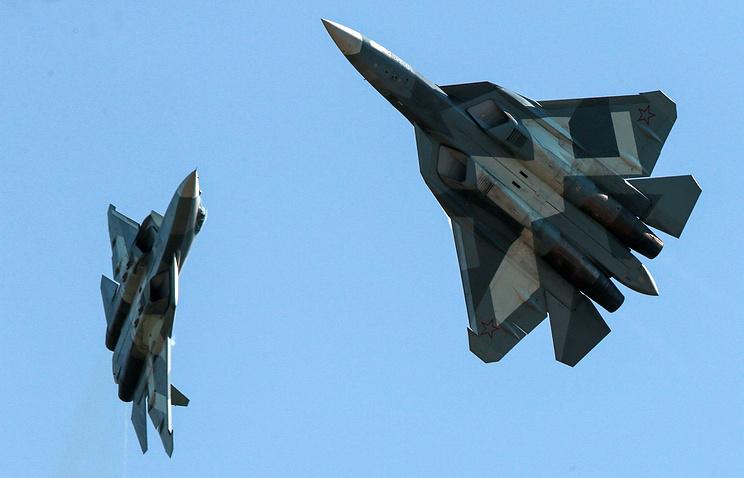 Российские истребители пятого поколения Су-57.